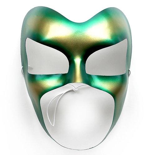 Maschera carnevale metallizzata smeraldo e oro
