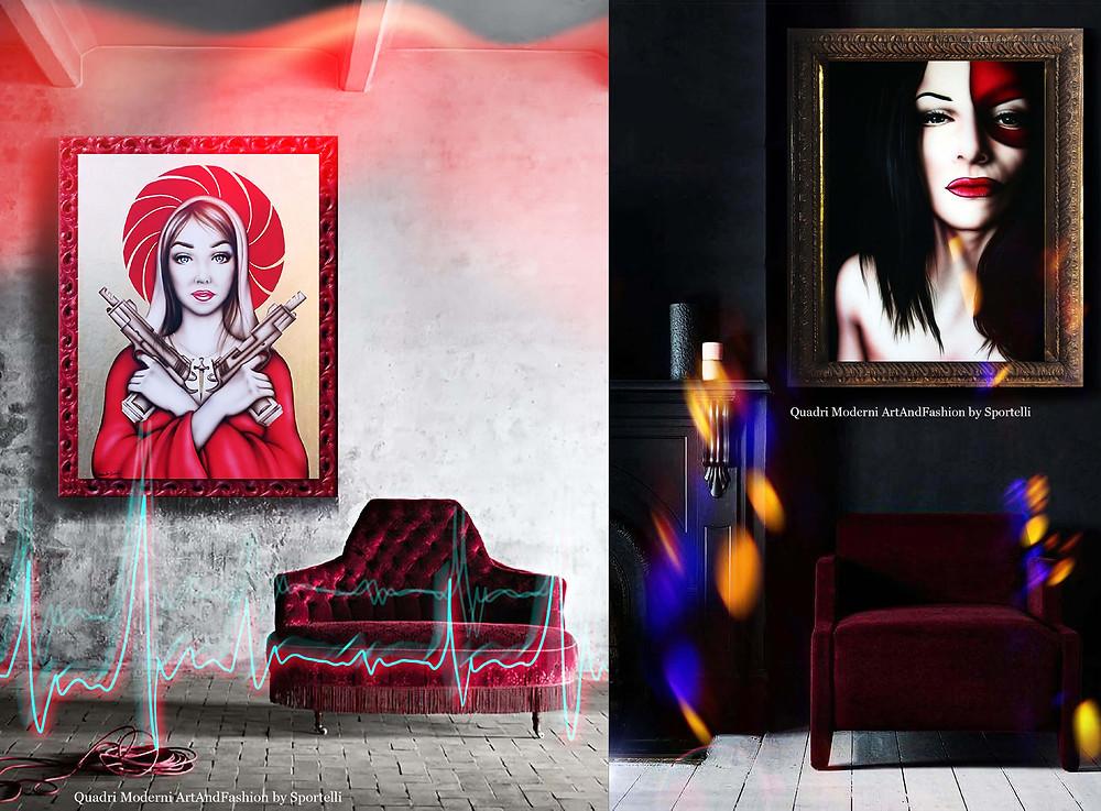quadri moderni dark ArtAndFashion by Sportelli per angoli salotto o locali notturni