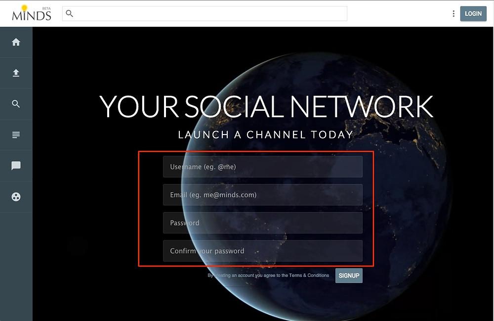 schermata di accesso al social network Minds