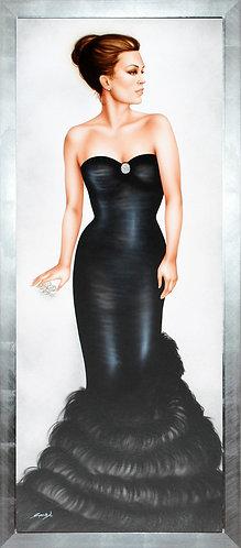 Quadro donna in abito elegante, dipinto verticale arredo moderno