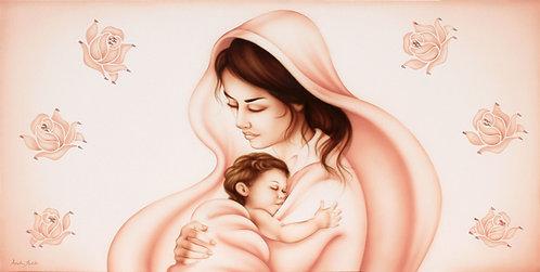 Capezzale moderno Madonna rosa antico particolare volti e Gesù bambino