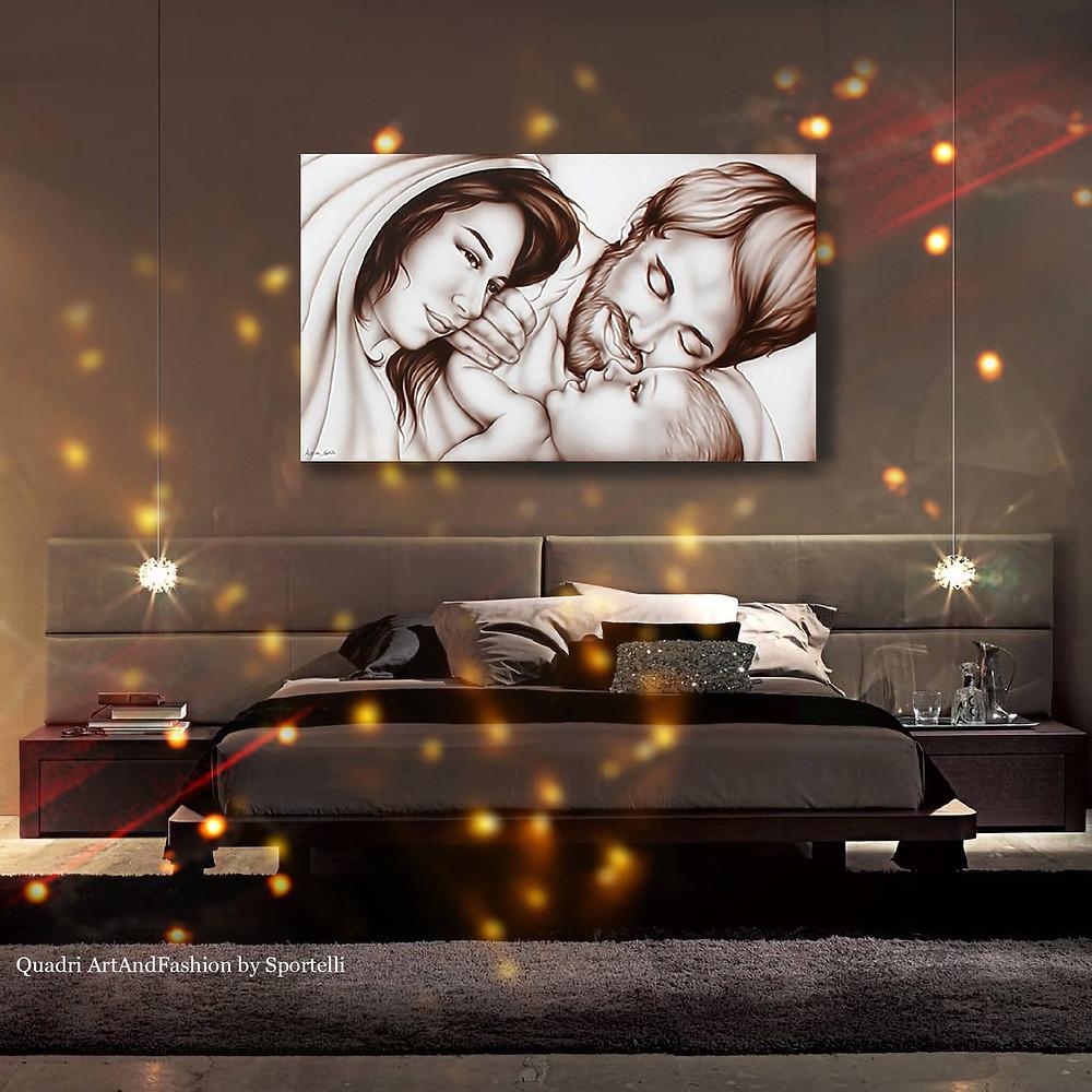 capezzale moderno sacra famiglia in camera da letto toni marrone testa di moro