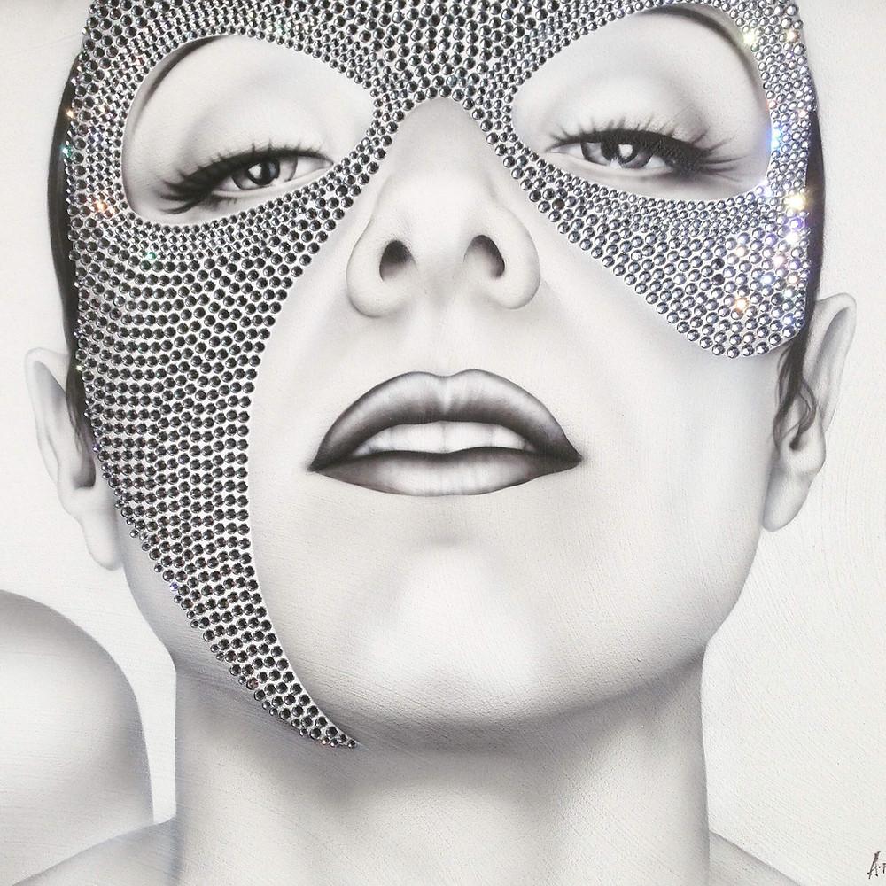 dipinto volto di donna, dipinto moderno, quadro moderno grigio