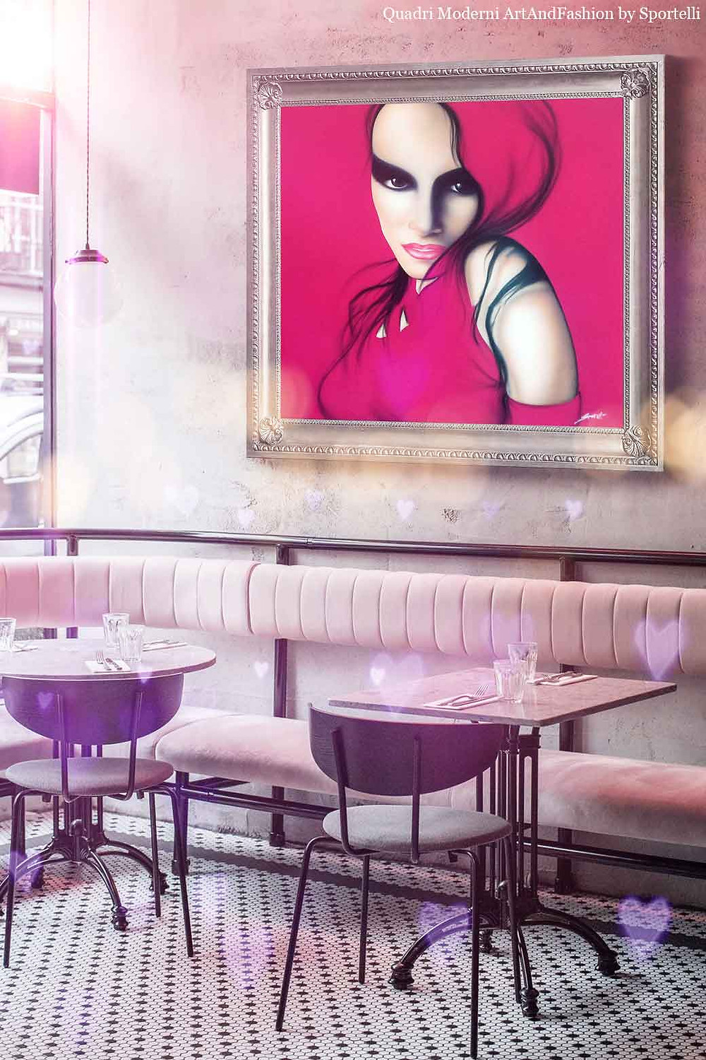 quadro-moderno-donna-fucsia-in-arredamento-locale-bar_ArtAndFashion-by-Sportelli