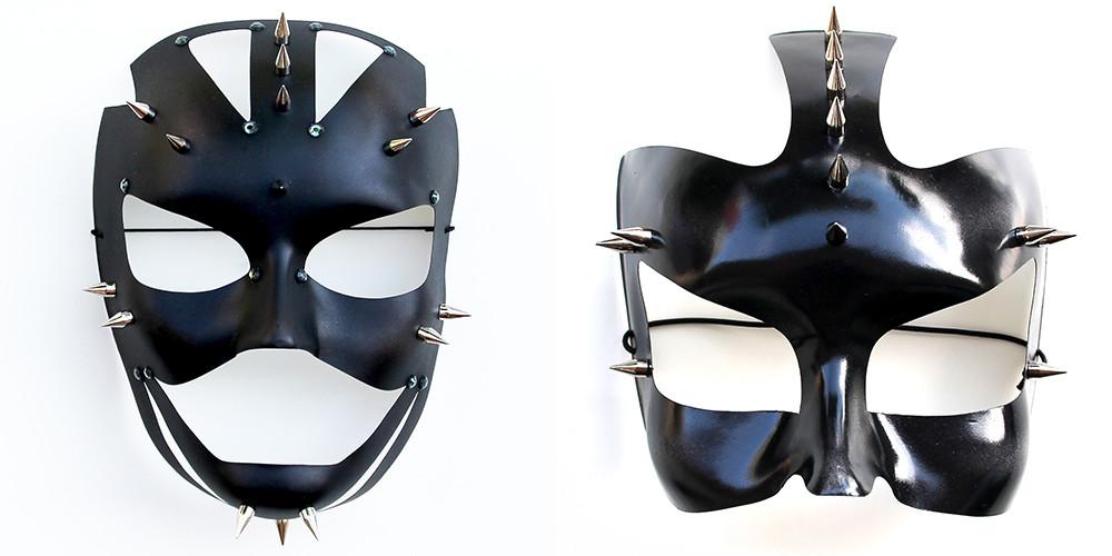 maschere chiodate sadomaso mezzo volto e volto intero
