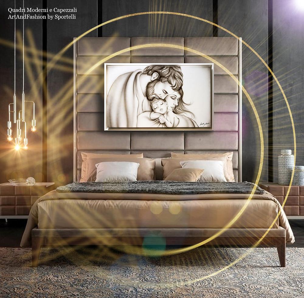 camera da letto moderna colori caldi con capezzale sacro ArtAndFashion by Sportelli