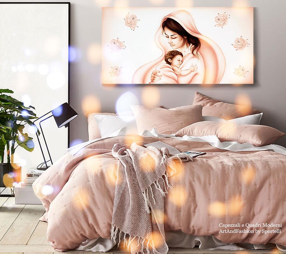 capezzale rosa antico cipria con Madonna in arredamento camera da letto romantica