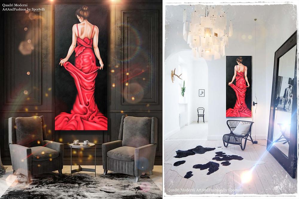 quadro moderno ArtAndFashion by Sportelli verticale con donna in abito lungo rosso in ambienti arredati con colori scuri e chiari