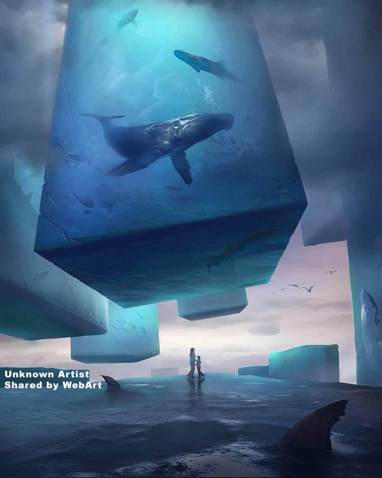 Balene in cubi di ghiaccio