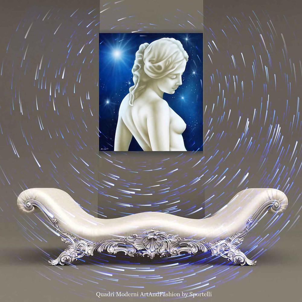quadro blu con donna in arredamento con chaise longue elegante barocca
