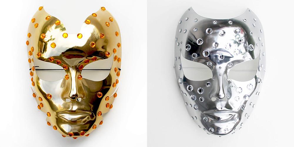 maschere metallizzate da discoteca cyborg