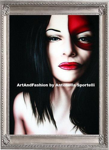 quadro moderno volto di donna con maschera, fetish art, dark art, artandfashion by sportelli