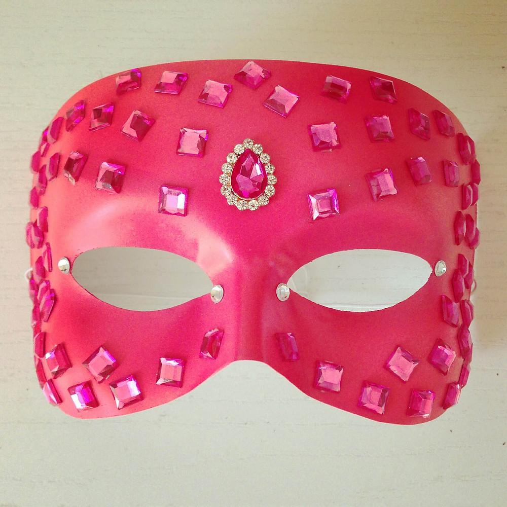 mascherina rosa con strass, carnevale
