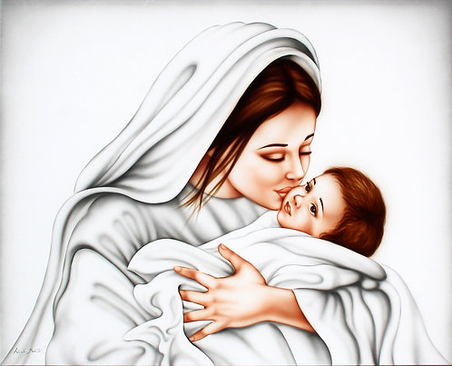 Capoletto sacro con Madonna e Gesù bambino, dipinto per arredamento camera da letto moderna e classica