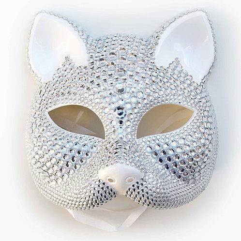 Maschera a gatto bianca con strass diamond