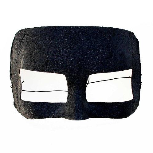 Maschera elegante minimale nera con superficie granulosa