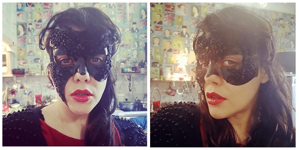 donna con maschera in pizzo nero ArtAndFashion Sportelli