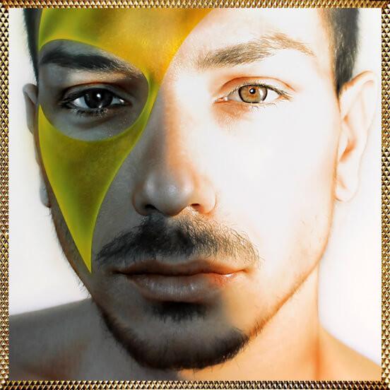 quadro moderno, ritratto maschile dipinto, quadro uomo mascherato