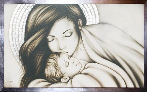 Capezzale Madonna in madreperla, dipinto sacro originale per arredo camera da letto moderna