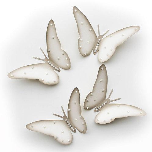 Farfalle adesive 3D panna decorate con perline