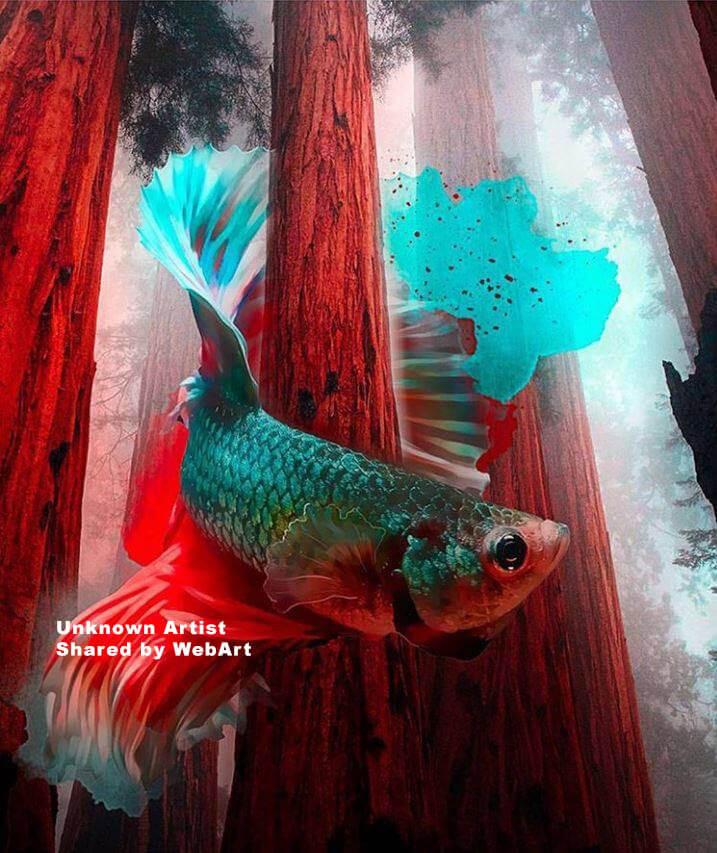 Surreal fish, digital art