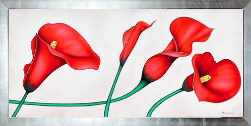 Quadro floreale calle rosse