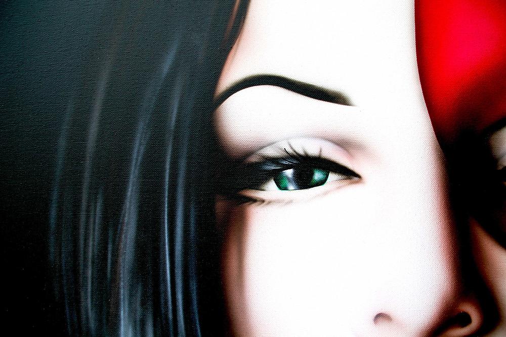 occhio di donna con sguardo sensuale dettaglio quadro moderno volto di donna con maschera by Antonella Sportelli