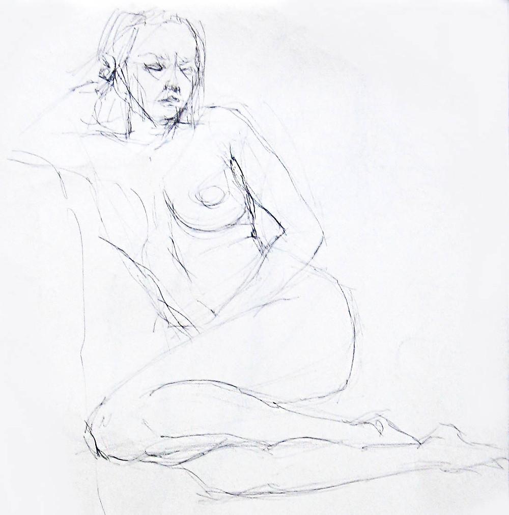 bozzetto a matita nudo donna