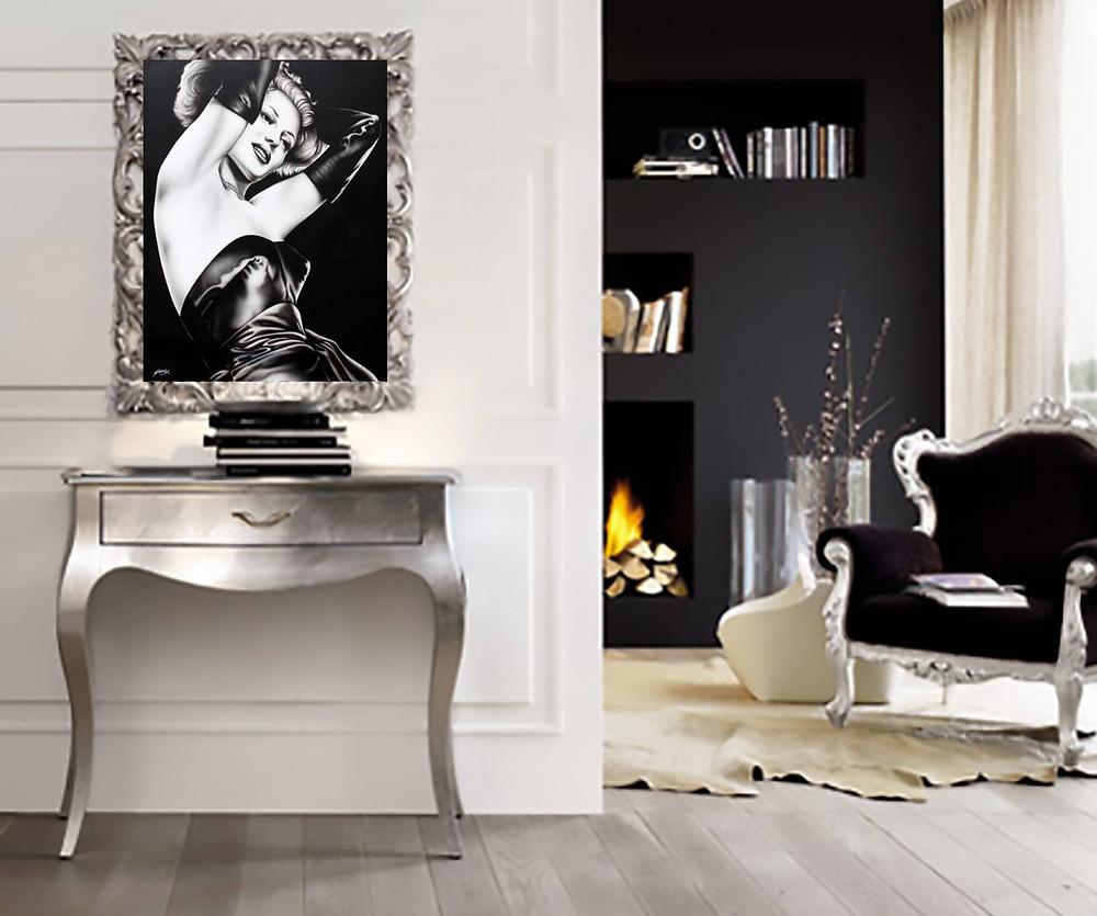 quadro moderno Gilda, arredamento bianco e nero, console Vogue