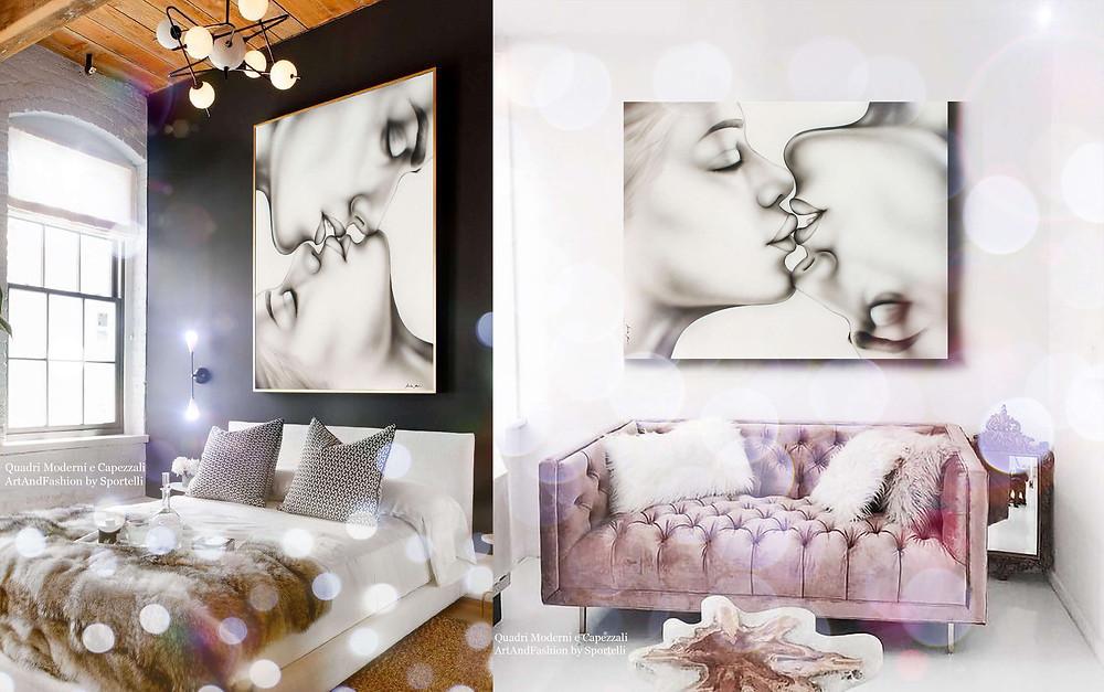camera da letto e salottino rosa con quadro moderno coppia bacio romantico