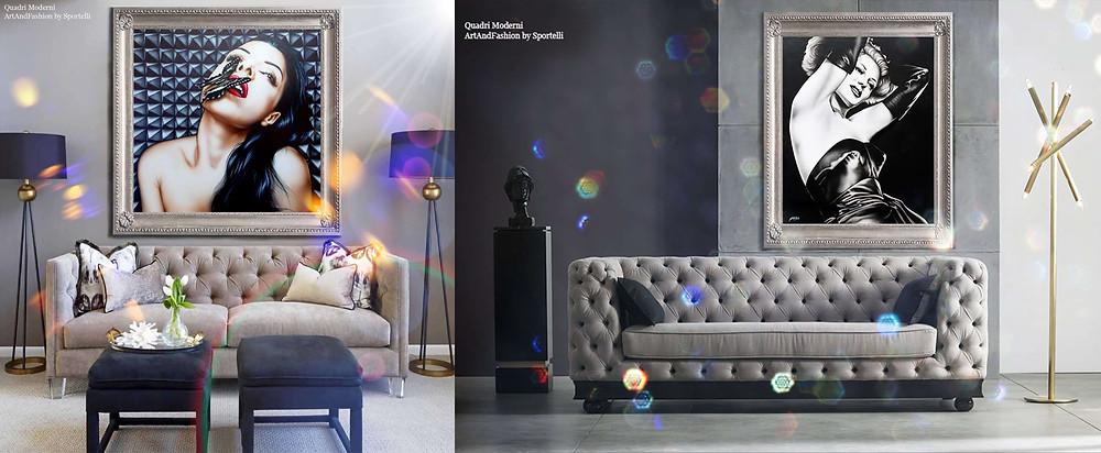 quadri moderni originali ArtAndFashion by Sportelli per salotti con divani grigi