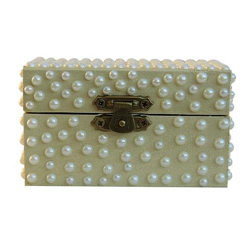 Mini scrigno oro con perle crema avorio artandfashionbysportelli