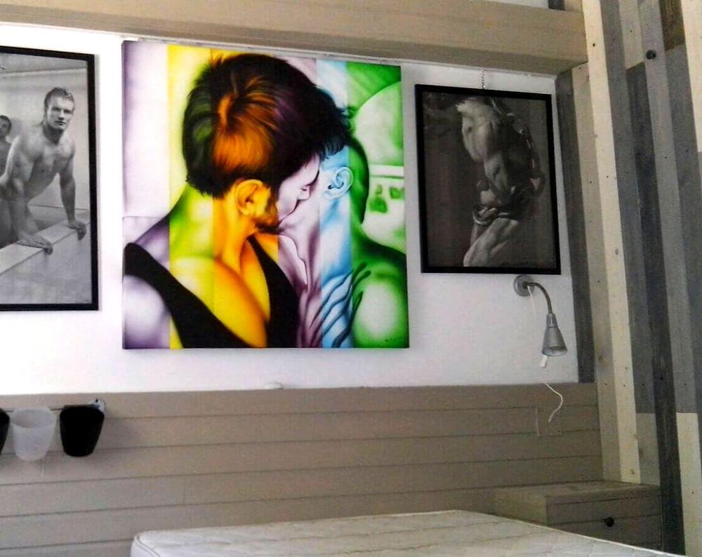 quadro multicolore bacio dipinto a mano