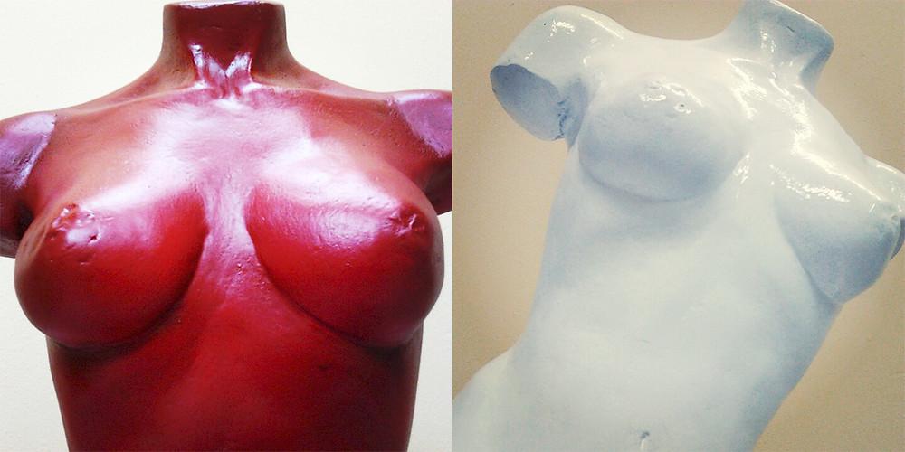 sculture, sculture bianco e rosso, mezzobusto scultura