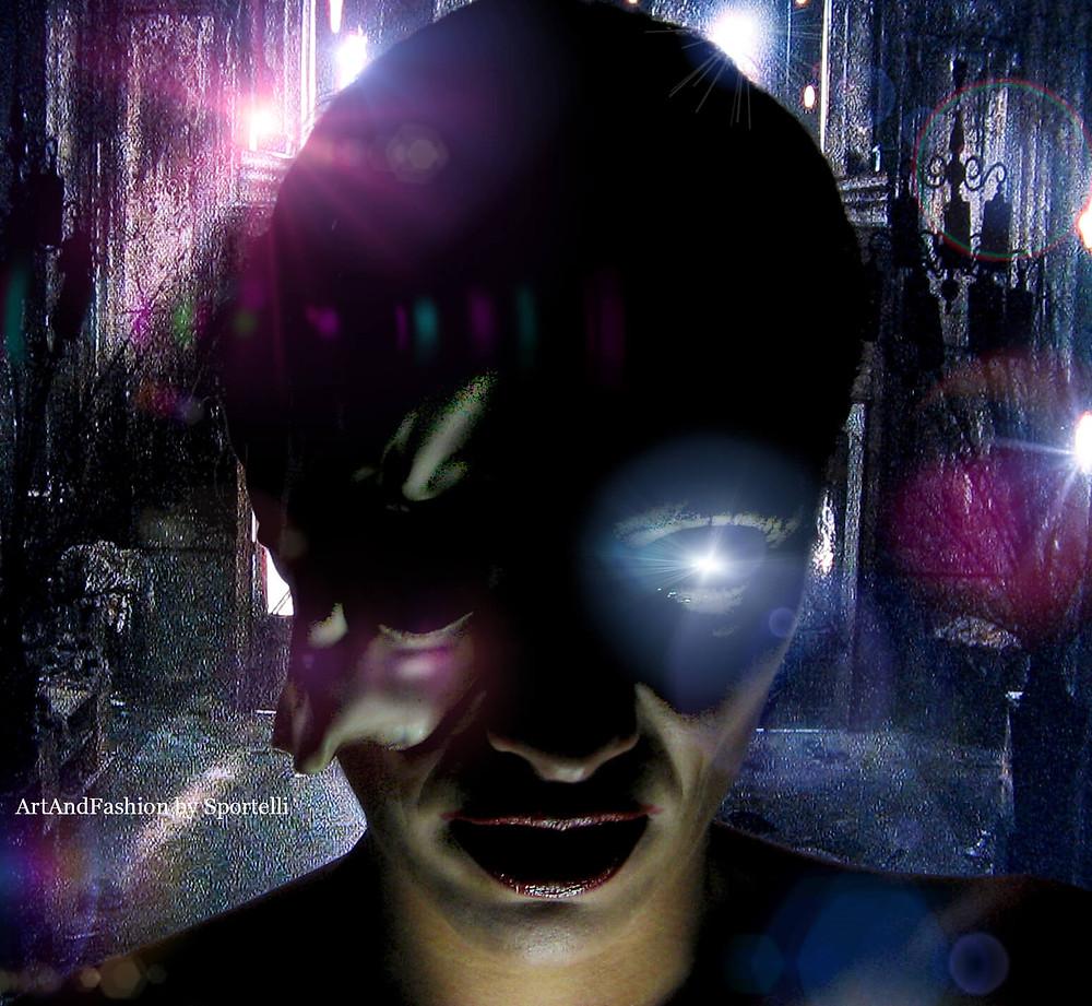 donna mascherata Halloween elaborazione fantasy digitale