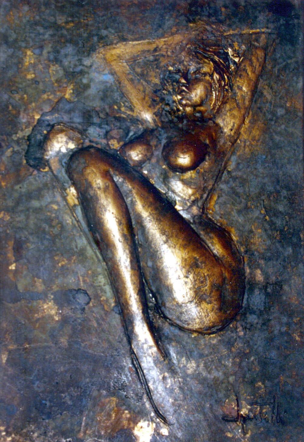 Bassorilievo argilla patina bronzo, nudo femminile