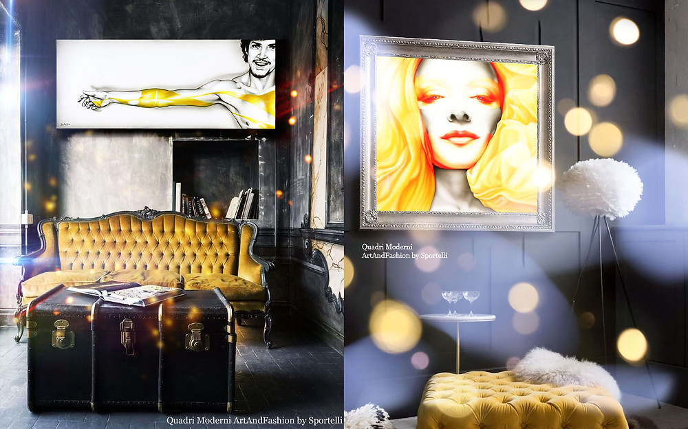 quadri moderni ArtAndFashion by Sportelli da abbinare a divani gialli