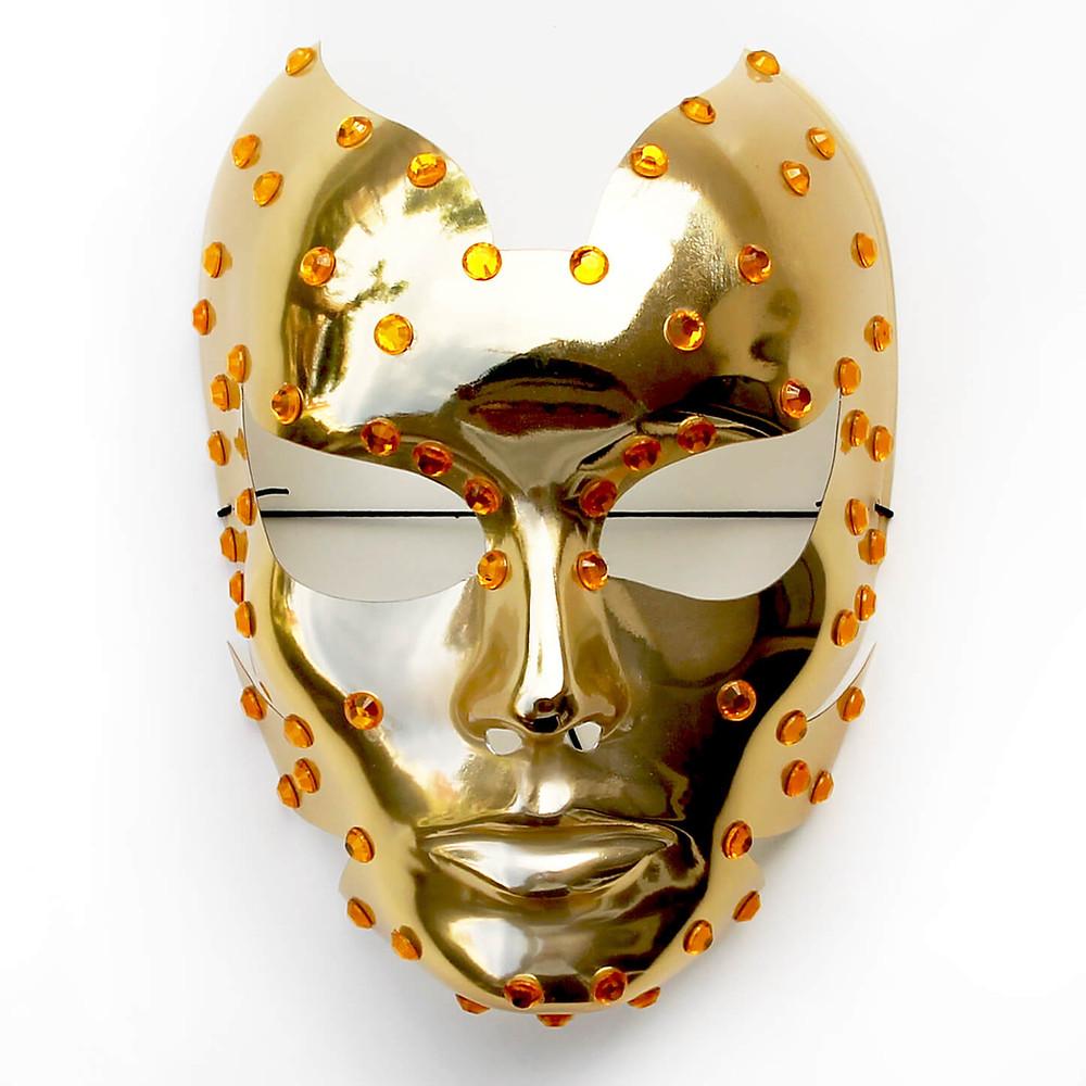 maschera carnevale oro, maschera cyborg