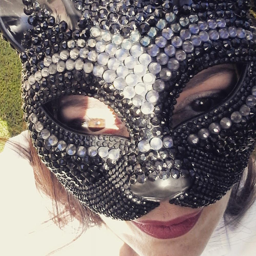 maschera a gatto nera con strass diamonds