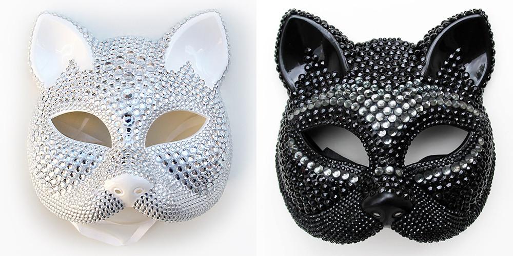 maschera carnevale gattina sexy bianca e nera