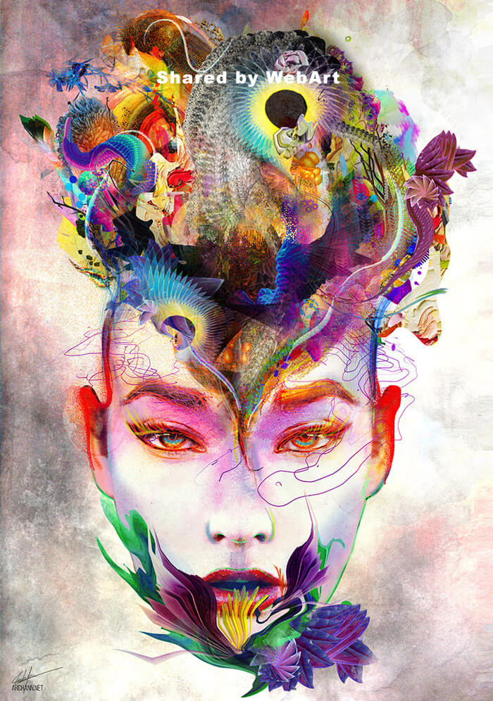 Archan Nair artist, surreal art, digital art, woman
