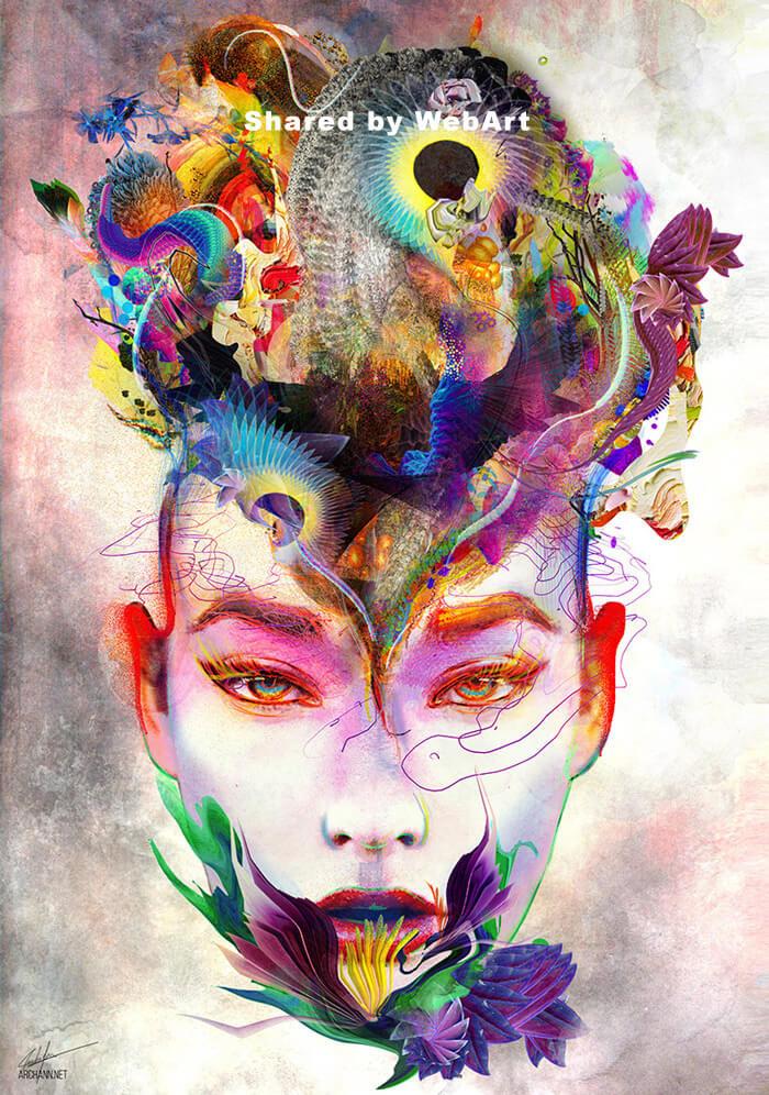 Archan Nair artist, surreal art, digital art, woman