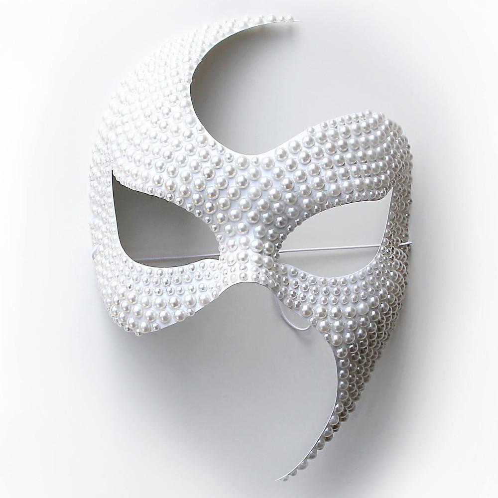 maschera di perle, maschera bianca, maschera carnevale elegante, maschera gioiello