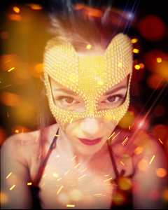 donna mascherata, maschera gioiello oro artandfashion by sportelli
