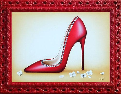 quadretto decoro scarpetta décolleté rossa