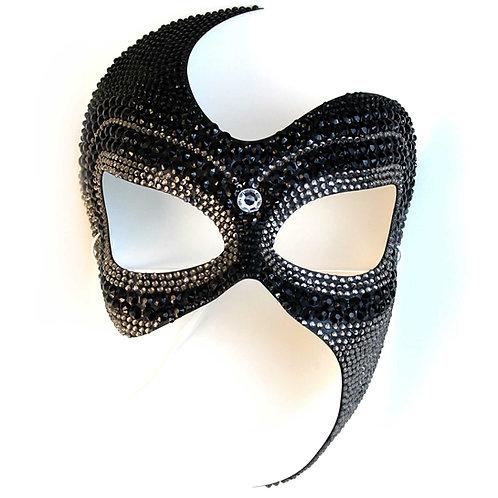 Maschera elegante sexy Black Diamond bicolore nero e grigio con strass