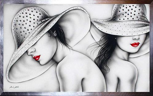 Quadro moderno donne con cappello e Swarovski dipinto originale