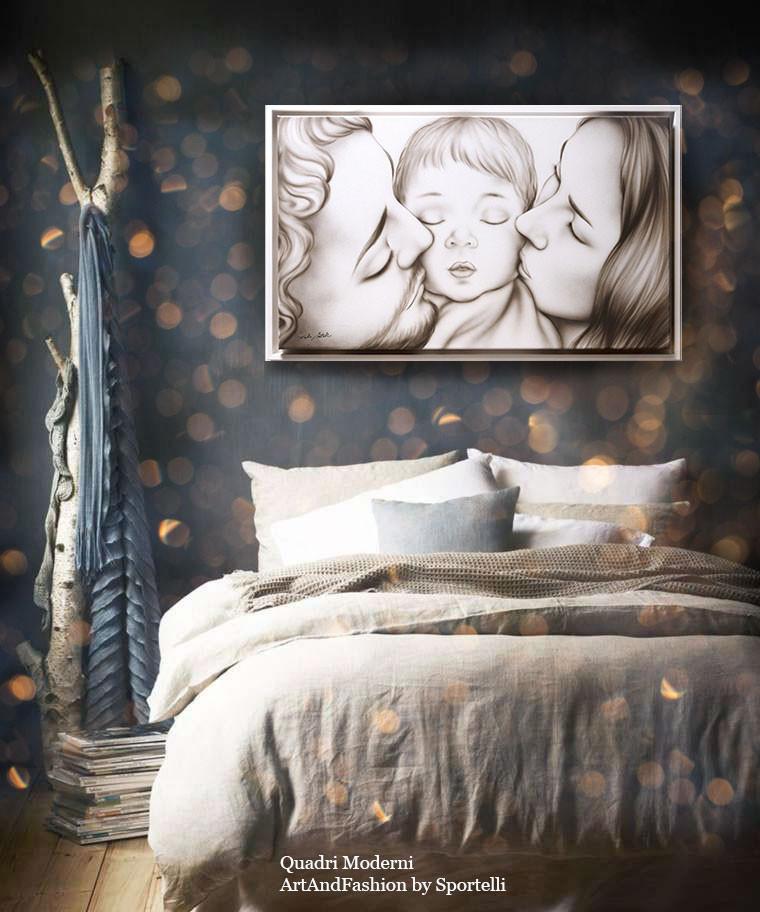 esempio di arredamento camera da letto moderna romantica green con capezzale famiglia