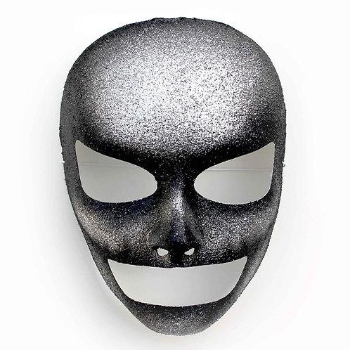 Maschera teschio Halloween glitter argento