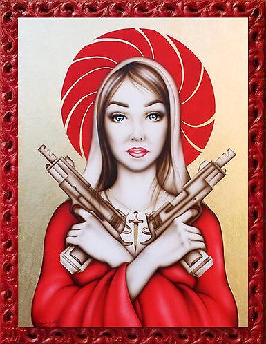 Quadro Madonna armata siberiana, dipinti originali moderni